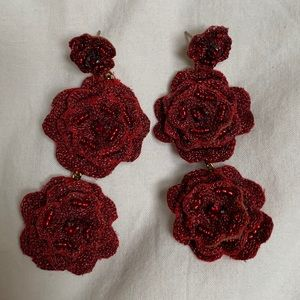 Anthropologie red floral beaded statement earrings